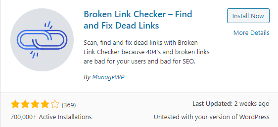 Brokenlin checker plugin for WordPress
