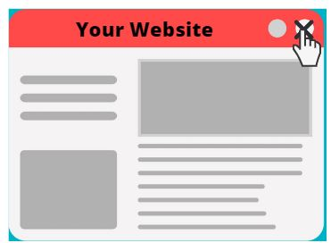 Close the browser and Exit the website cause bounce rate