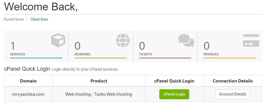 Cpanel of A2 Hosting