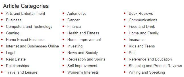 Ezine Articles categories