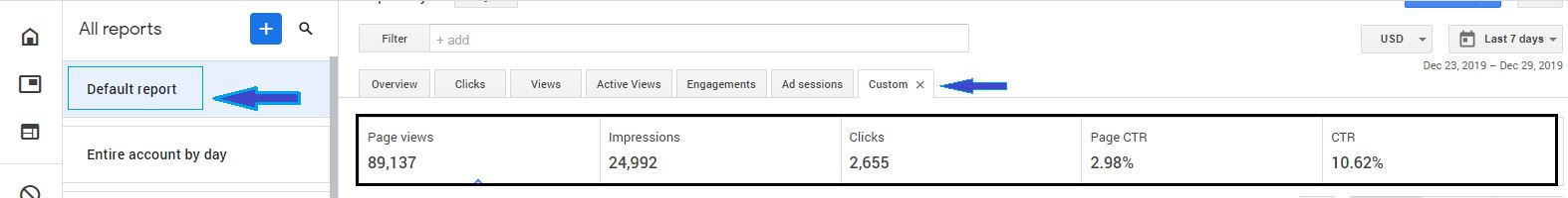 How to check the Page CTR and Impression CTR in google adsense