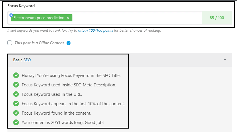 RankMath SEO optimized content