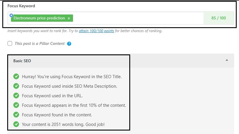 RankMath SEO optimized content