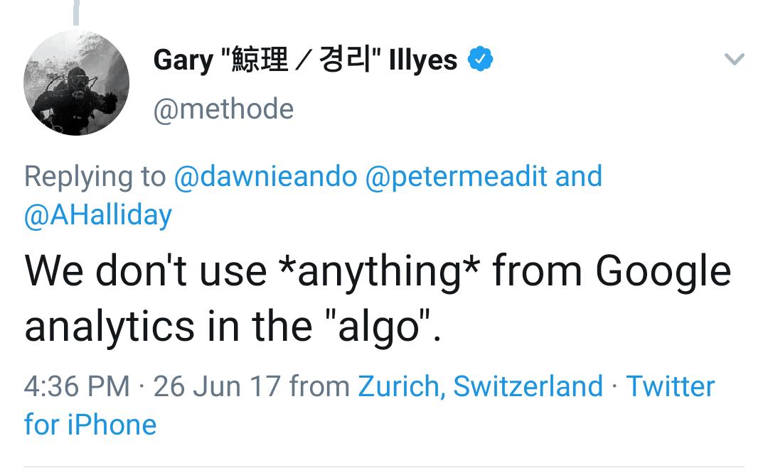 Garry tweet on Google Anlytics use in Google Ranking