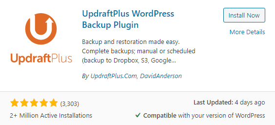 Updraft wordpress website backup free plugin