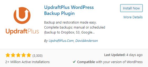 Updraft wordpress website backup free plugin