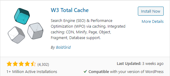 W3 Total Cache plugin for website loading speed and performance
