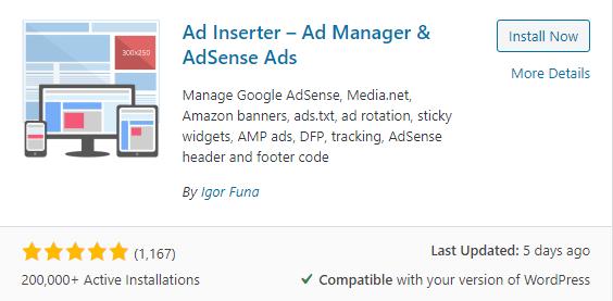 Wordpress auto ads insertor free plugin
