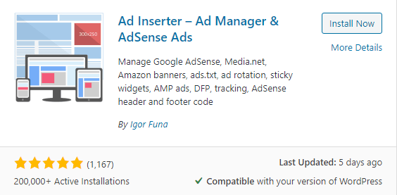 Wordpress auto ads insertor free plugin