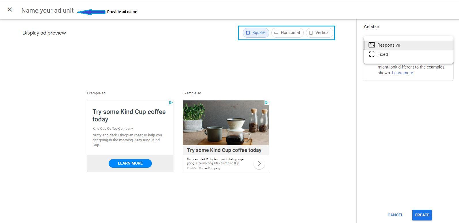 Craete ad unit in google adsense