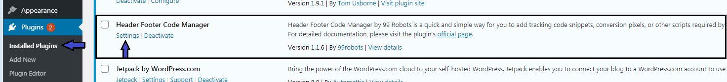 Header footer code manager plugin setting in wordpress