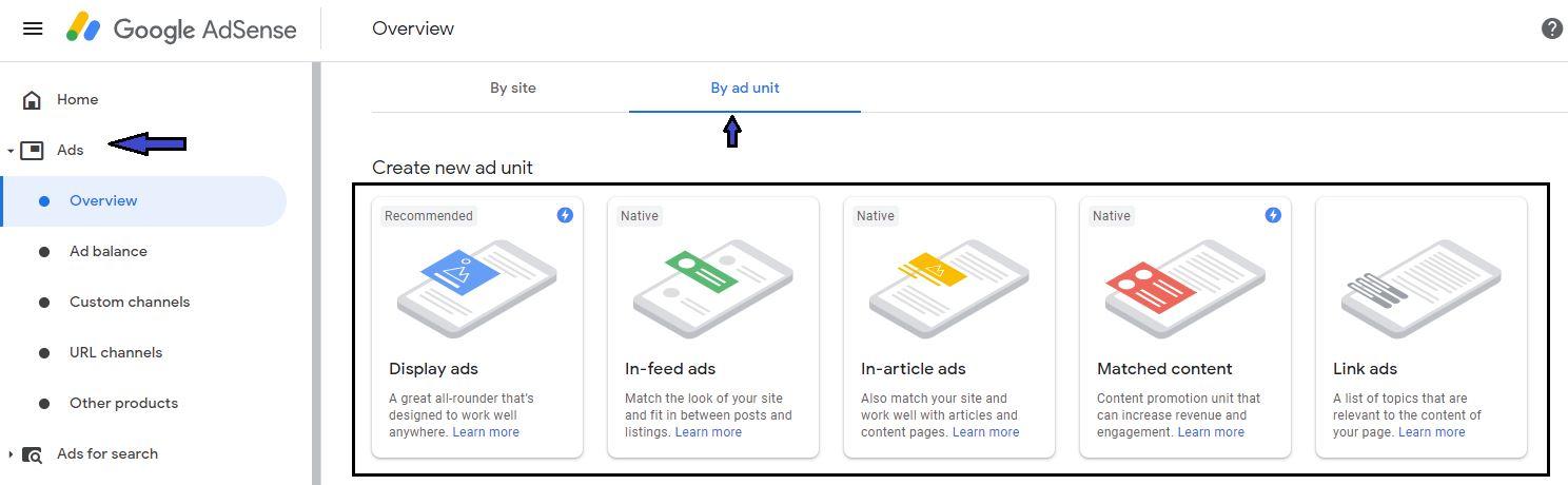How to create Google adsense ad unit