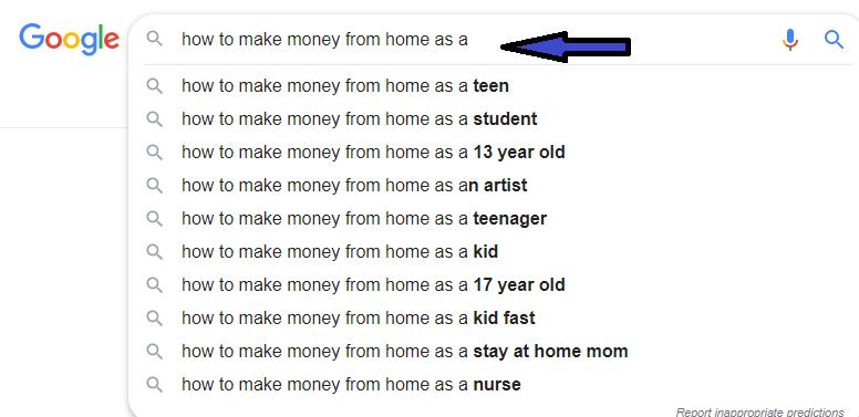 How to make money Google suggesstions