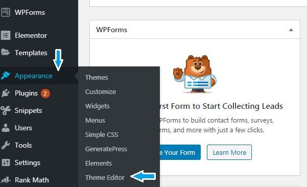 Select WordPress theme editor