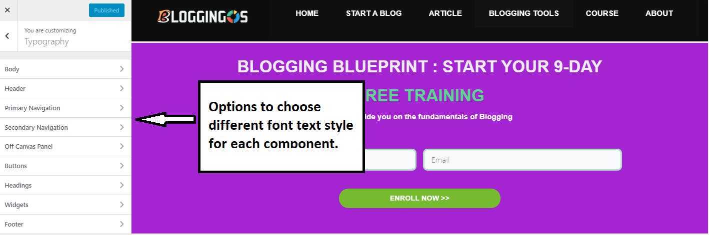 GeneratePress typography options