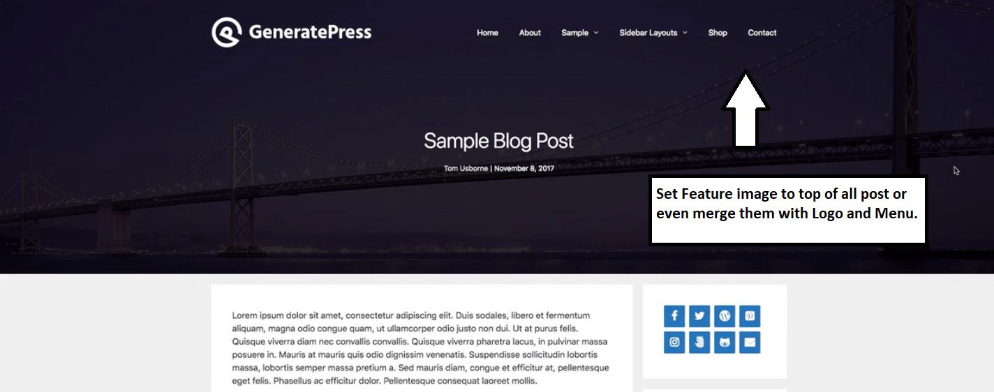 Set Page HERO in generatepress