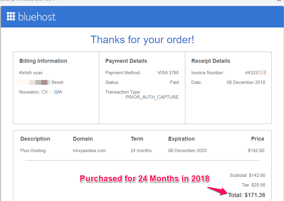 BlueHost Purchase Details