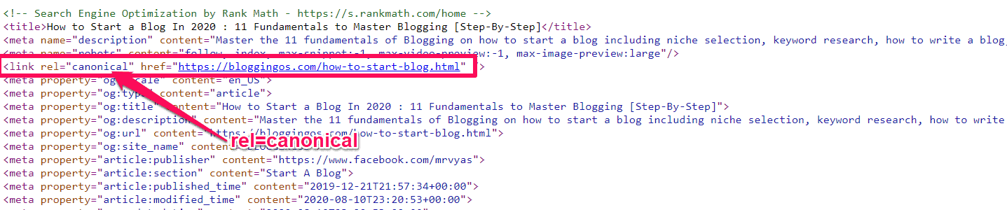 How to check the canonical tag of the website