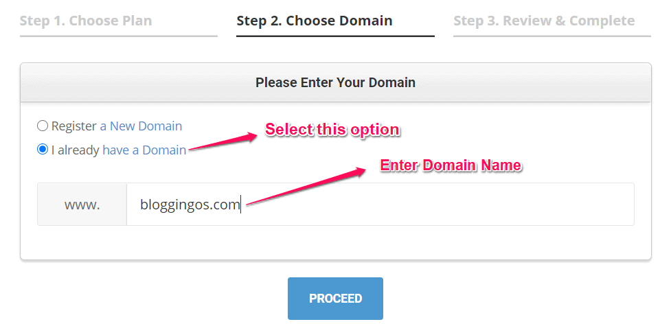 Choose and select the domain in SiteGround Hosting
