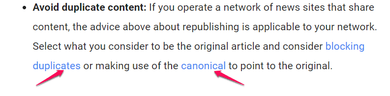Google Guideline on Canonical tag