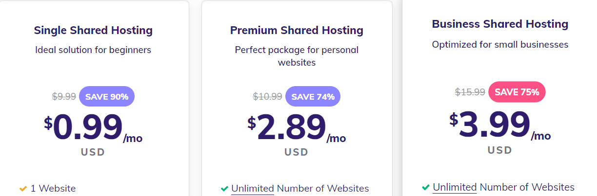 Hostinger Shared hosting plan