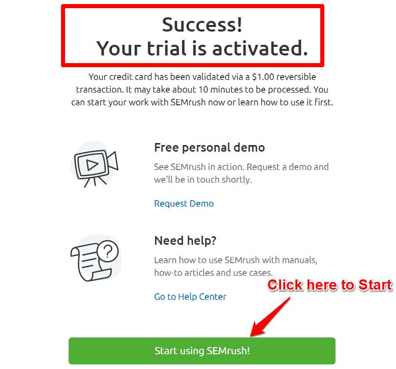 SEMRush Free trial activated