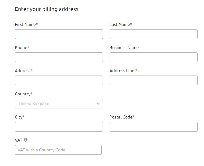 Provide Billing address for SEMRush buy