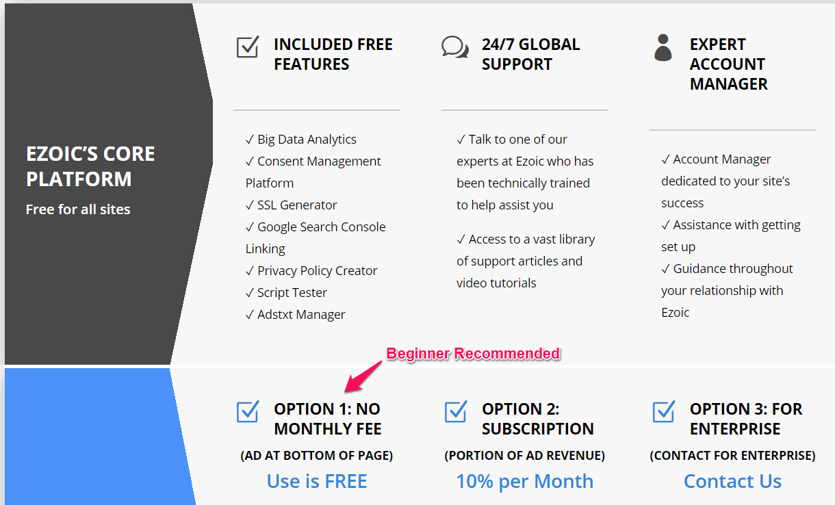Ezoic Pricing features