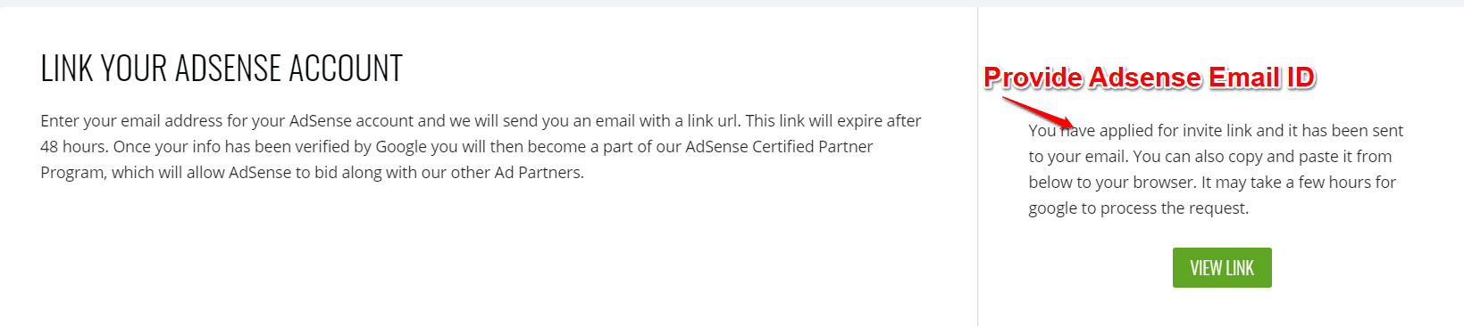 Link Adsense account with Ezoic
