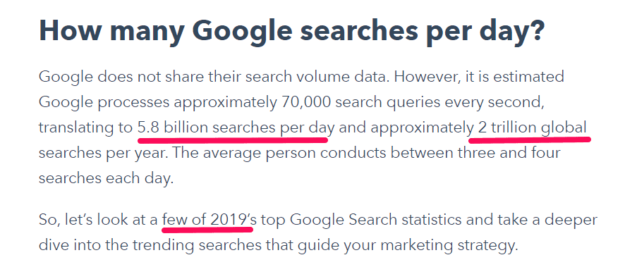 Google number of searhces in year 2019